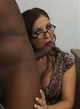 Hot brunette teacher in glasses Maria Bellucci gets anally fucked by black student in classroom - 4 anal movies