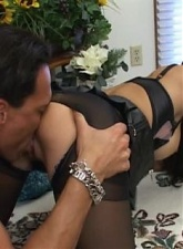 Busty brunette slut in pantyhose Shy Love gets ass licked and fucked - 4 anal movies