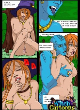 Ugly blue-skinned beast bangs witch - 3 anime pictures