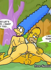 Lusty housewife Marge Simpson in riding on big Homers dick - 5 anal pictures