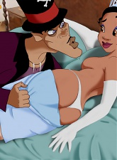 The beautiful princess Tiana and the naughty sorcerer Dr. Facilier are having some naughty fun in bed. - 5 anal pictures