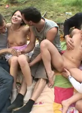 Teen lesbians gang fucked by 4 guys - 4 anal movies
