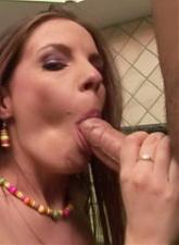 Blazing brunette girlfriend slurping a big pecker in the kitchen - 4 anal movies